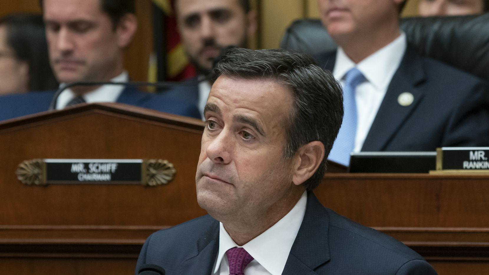 In this Wednesday, July 24, 2019 photo, Rep. John Ratcliffe, R-Texas, a member of the House Intelligence Committee, questions former special counsel Robert Mueller as he testifies to the House Intelligence Committee about his investigation into Russian interference in the 2016 election, on Capitol Hill in Washington.