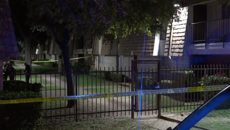 An image from the scene at an apartment complex in the 1200 block of Westmount Avenue, in Oak Cliff, where a male was fatally shot early Saturday, Oct. 10, 2020.