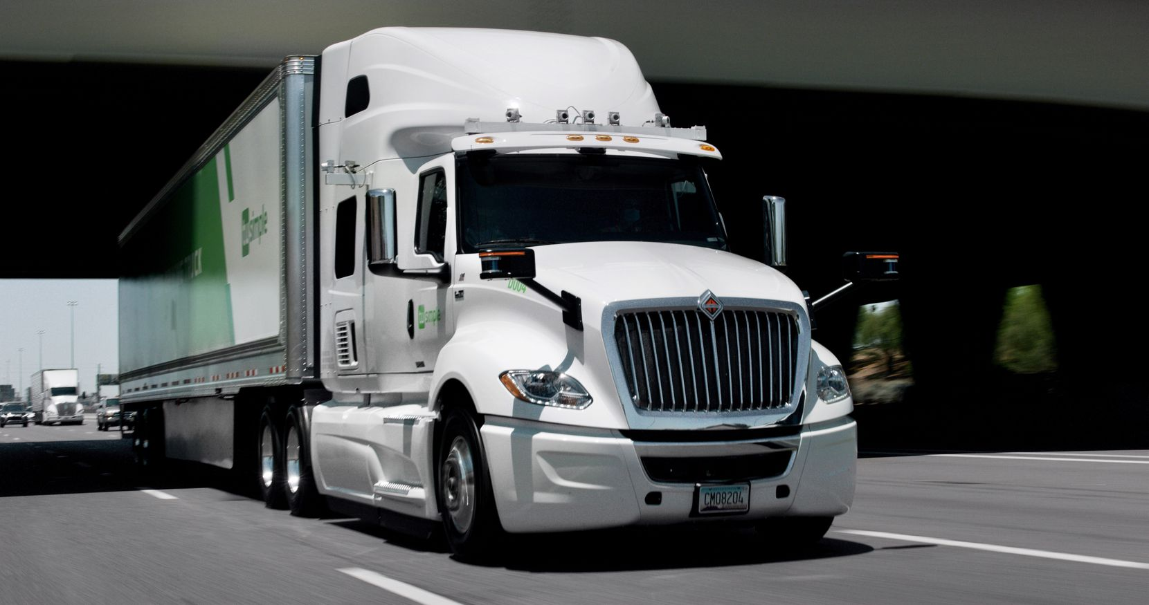 TuSimple's autonomous trucks are equipped with HD cameras, radar and other sensors to inform the artificial intelligence that maneuvers the vehicles.
