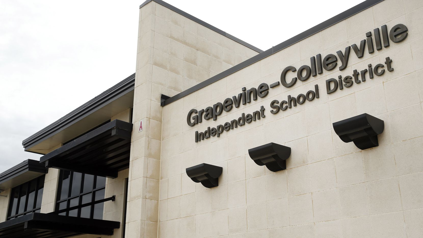 An exterior view of the Grapevine-Colleyville Independent School District headquarters on Ira Woods Ave in Grapevine, Texas, Tuesday, June 23, 2020.