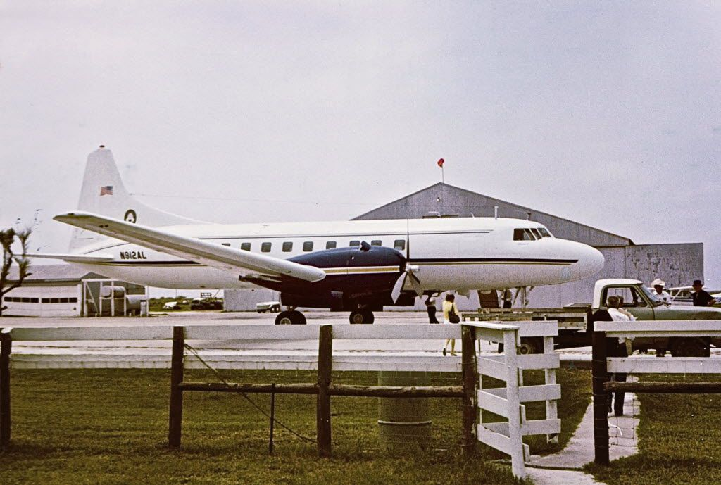 Dallas oilman Toddie Lee Wynne's private Convair transported him to and from his Matagorda Island compound. The logo of Wynne's American Liberty Oil Co. is on the tail. Wynne died on this plane in 1982 while departing the island.