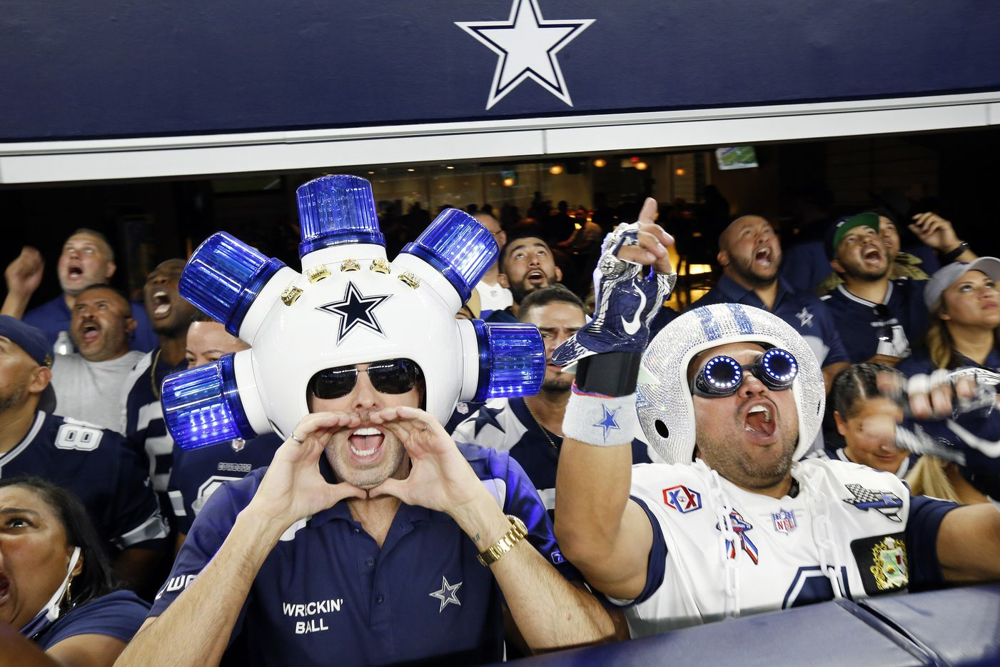 Dallas Cowboys fans cheer their team as they face the Philadelphia Eagles at AT&T Stadium in Arlington, Monday, September 27, 2021. (Tom Fox/The Dallas Morning News)