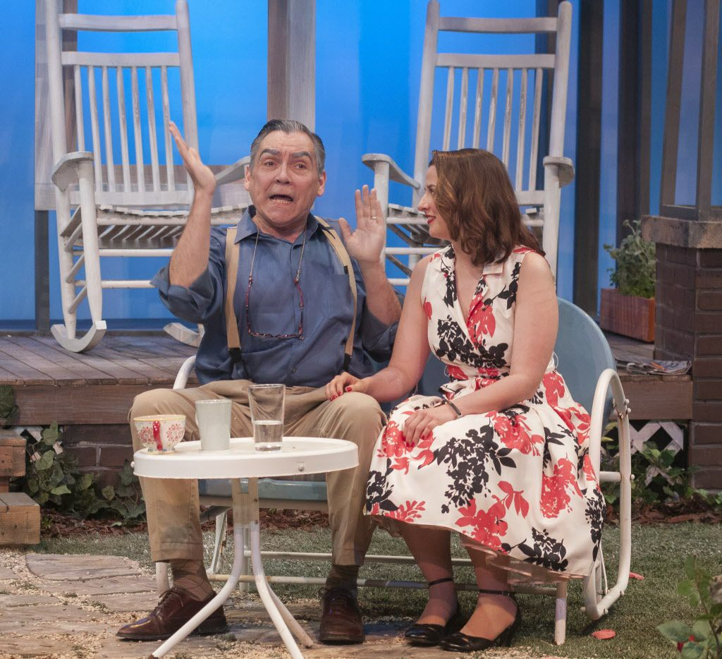 Terry Martin (Joe Keller), left, and Tabitha Ray (Ann Deever), perform a scene during a dress rehearsal of 'All My Sons' at the WaterTower Theatre on Thursday, April 16, 2015.   (Rex C. Curry/Special Contributor)