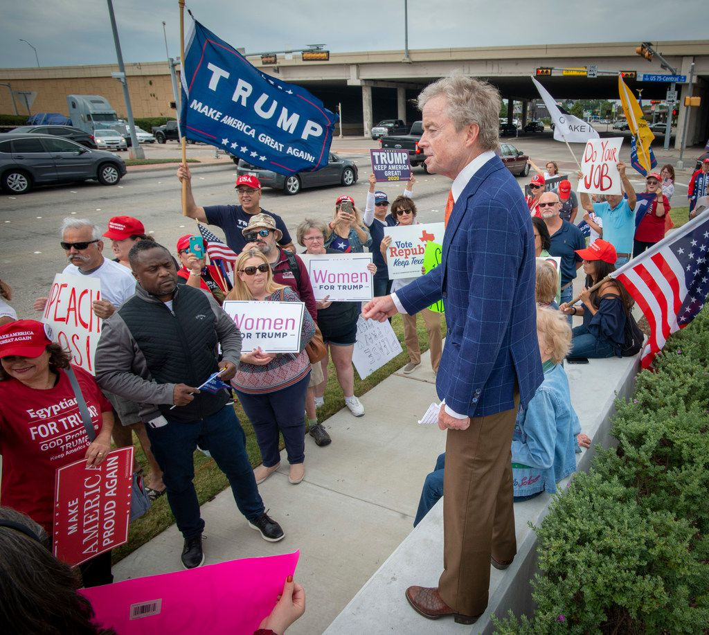 """Former State Sen., Don Huffines speaks at an anti-impeachment pro-Trump campaign event called, """"Stop the Madness,"""" outside Rep. Colin Allred's district office at 100 N. Central Expressway in Richardson, Texas on October 14, 2019."""
