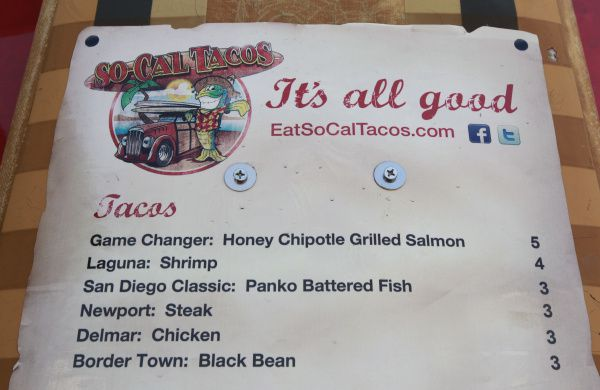 Part of the menu at the So-Cal Taco Truck in the parking lot at Bear Creek Spirits and Wine in Colleyville, Texas on Friday, July 13, 2012.