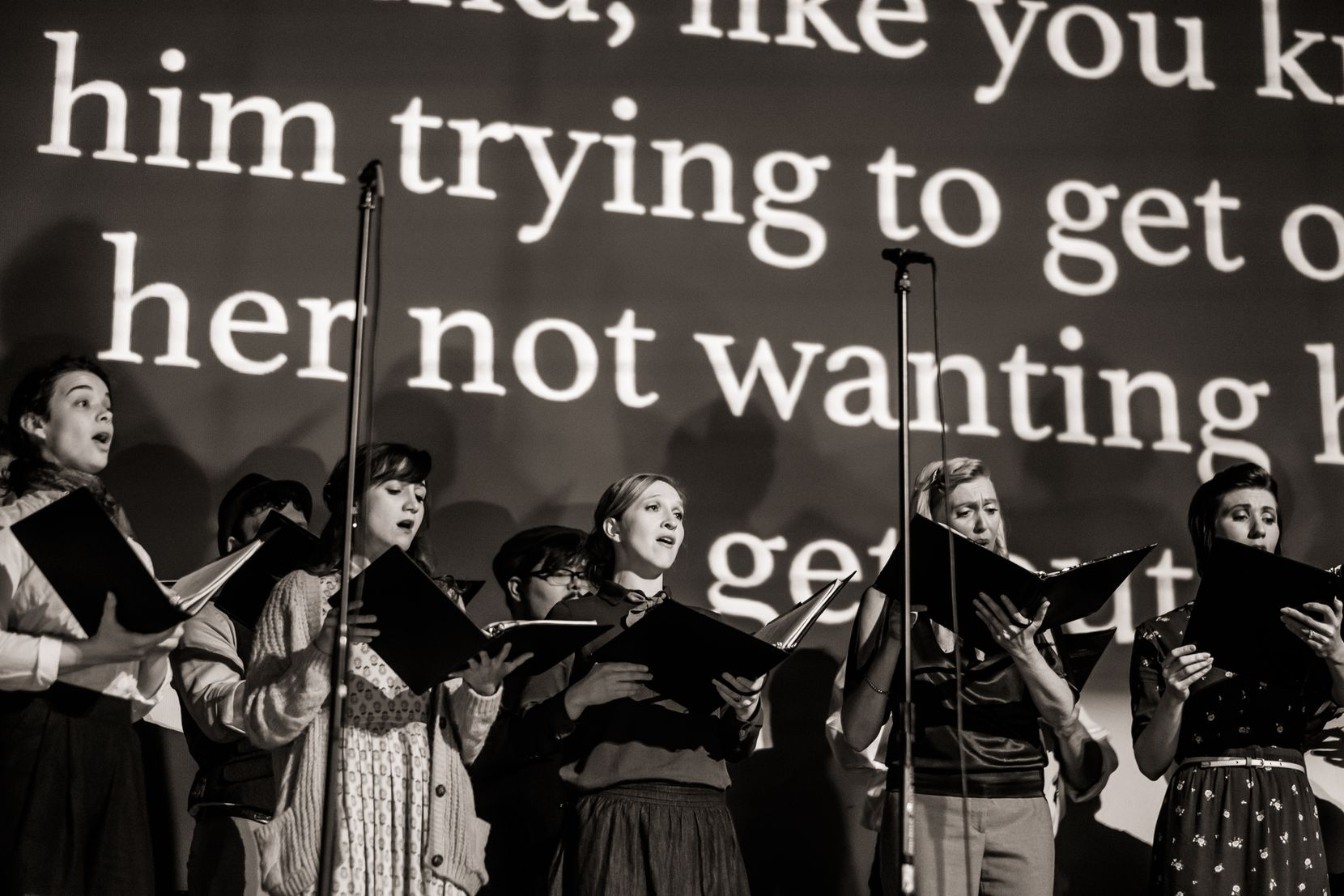 """Dallas-based Verdigris Ensemble is creating a blockchain art version of their production of """"Betty's Notebook,"""" shown here in photos from performance at the Texas Theatre in Oak Cliff, which uses music and found sounds to tell a story about the disappearance of American aviator Amelia Earhart."""
