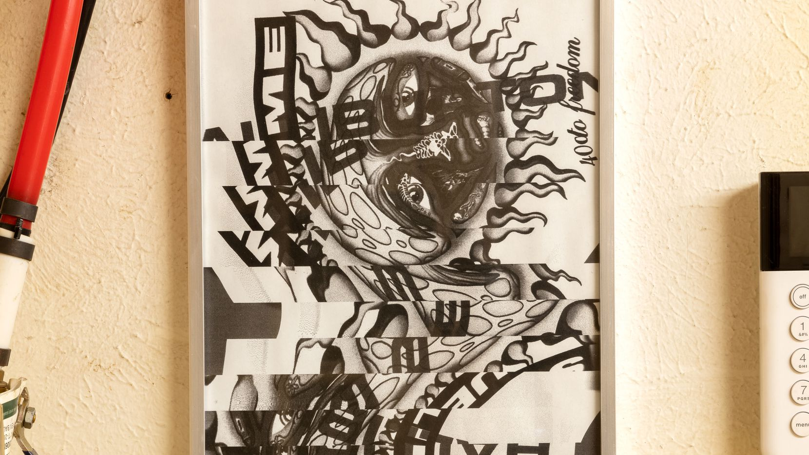 """Preston Douglas' 2021 piece """"The Rhythm of the Sun,"""" an inkjet print on cardstock in an aluminum frame, is among the artwork on display at PRP as part of the """"Preston Douglas and Mark Flood, Stretcher Barbeque"""" exhibition. It runs through July 31."""