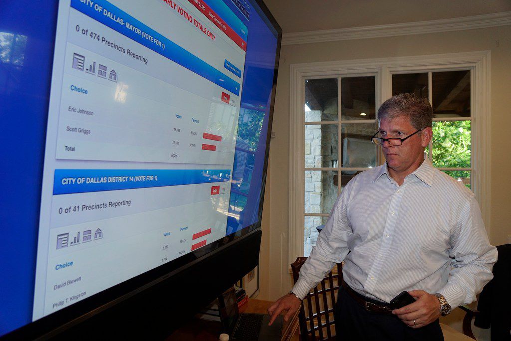 David Blewett watches returns during his run off watch party at a supporter's house in Dallas, TX on Saturday, June 8, 2019.