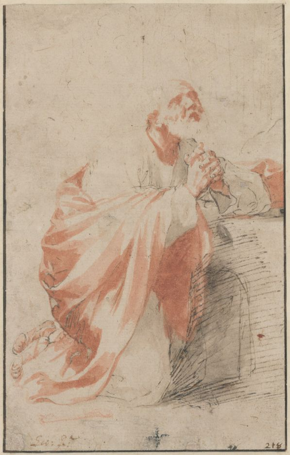 Jusepe de Ribera (Spanish, 1591-1652), Penitence of St. Peter, 1617-18. Pen and brown ink, brown and red-brown wash. Fondation Custodia, Collection Frits Lugt, Paris. Inv. no. 1977-T.54.  Between Heaven and Hell: The Drawings of Jusepe de Ribera March 12 – June 11, 2017