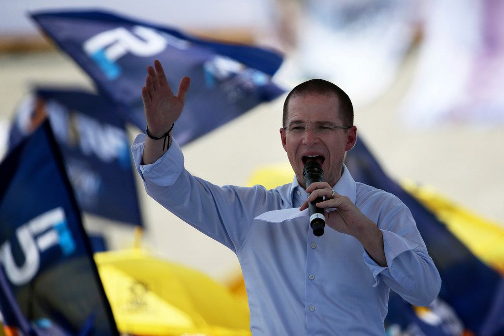 Presidential candidate Ricardo Anaya of the Forward for Mexico Coalition speaks at a campaign rally in Mexico City, Tuesday, May 1, 2018. Mexico will choose a new president on July 1. (AP Photo/Marco Ugarte)