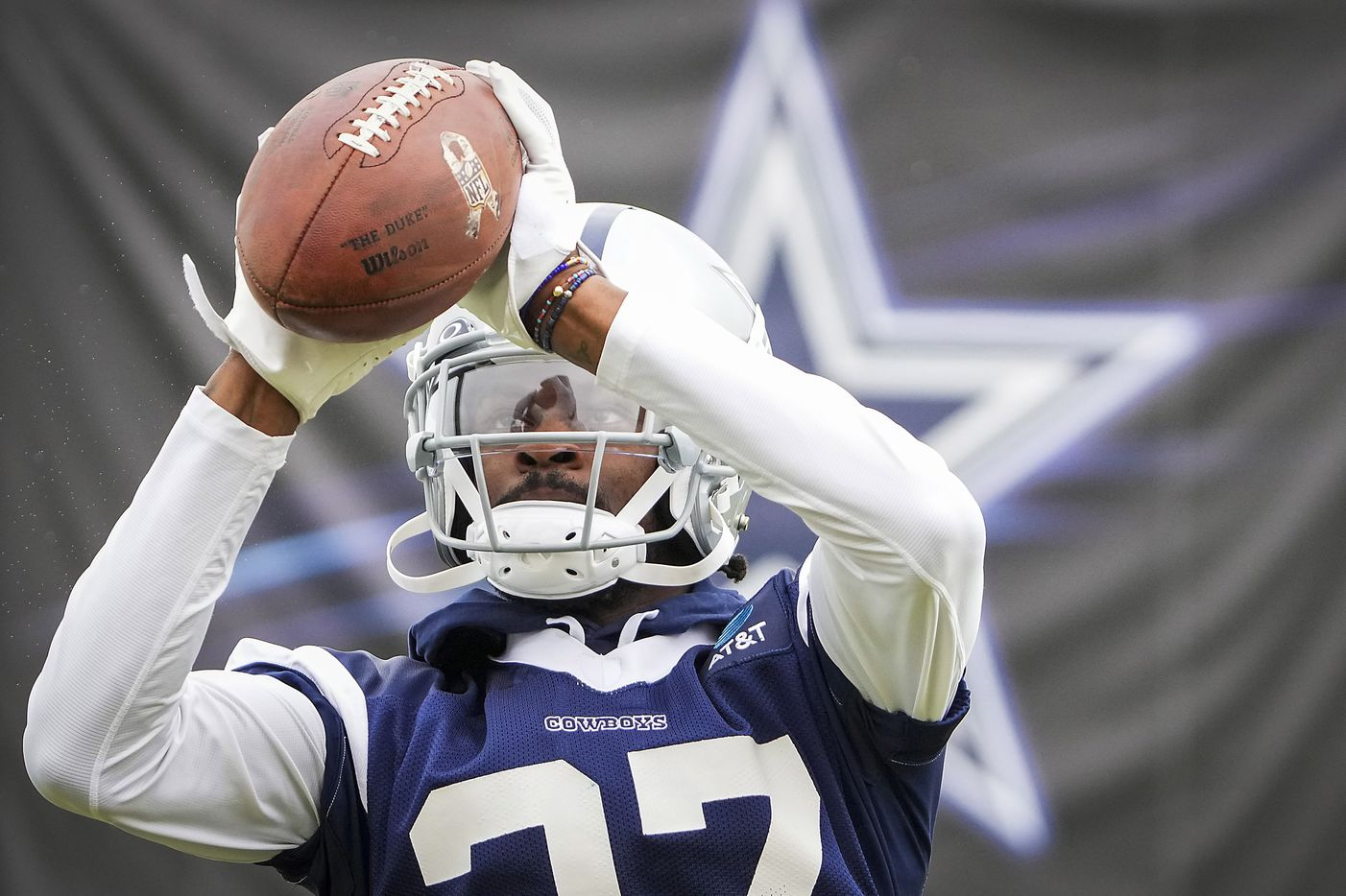Dallas Cowboys cornerback Trevon Diggs catches a ball during drill at training camp on Sunday, July 25, 2021, in Oxnard, Calif.