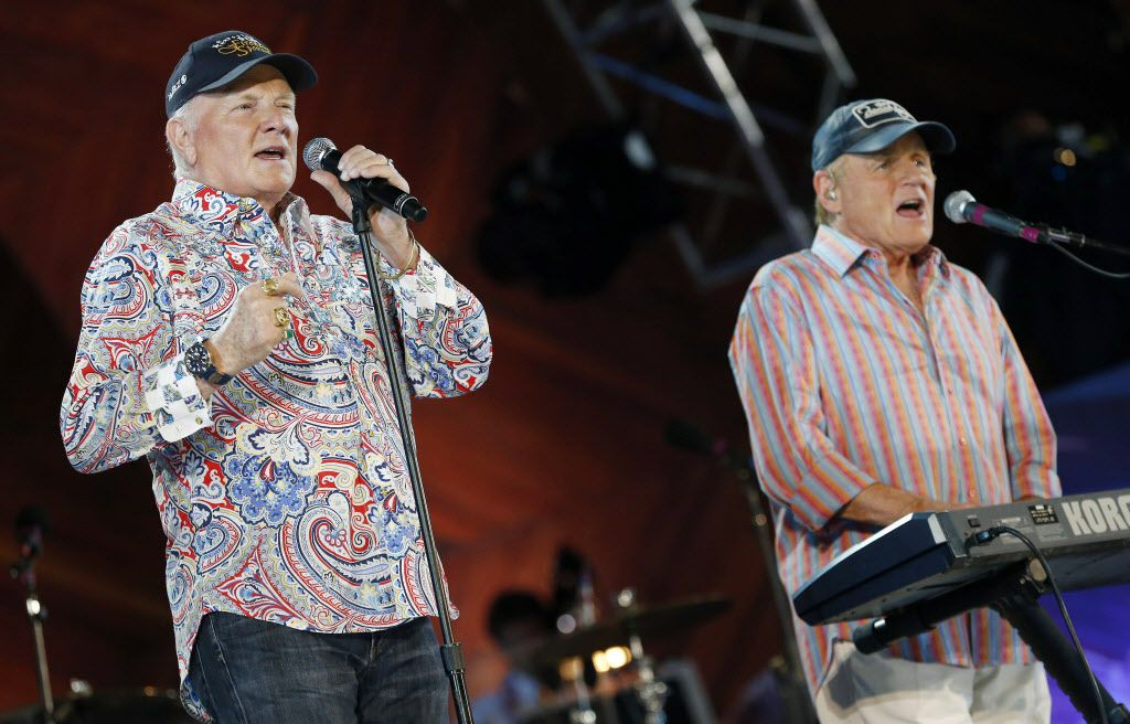 The Beach Boys, Mike Love, left and Bruce Johnston, perform at the Hatch Shell on the Esplanade in Boston, Thursday, July 3, 2014.