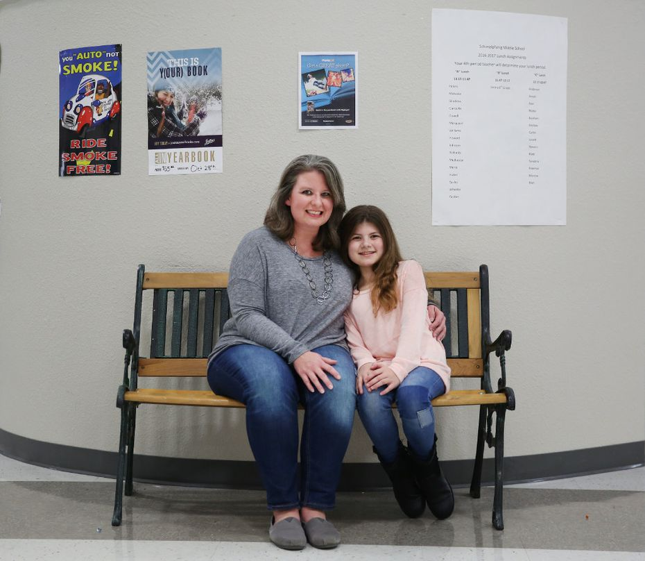 "Skylar O'Mahony, currently a 6th grade student, was diagnosed with dyslexia and was enrolled in ""Take Flight"" classes between the second and fourth grades. Her mother Stacey O'Mahony is a teacher at Wilson Middle School in Plano. (Andy Jacobsohn/The Dallas Morning News)"