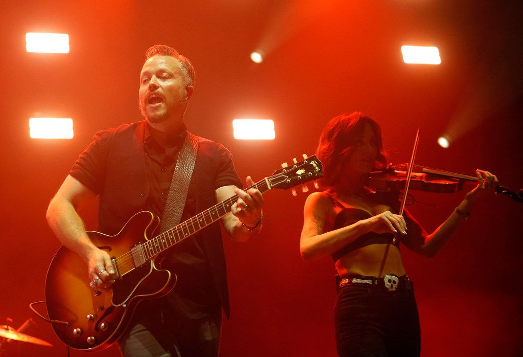 Jason Isbell performs with wife Amanda Shires at Toyota Music Factory in Irving, Texas, on Thursday, June 27, 2019.