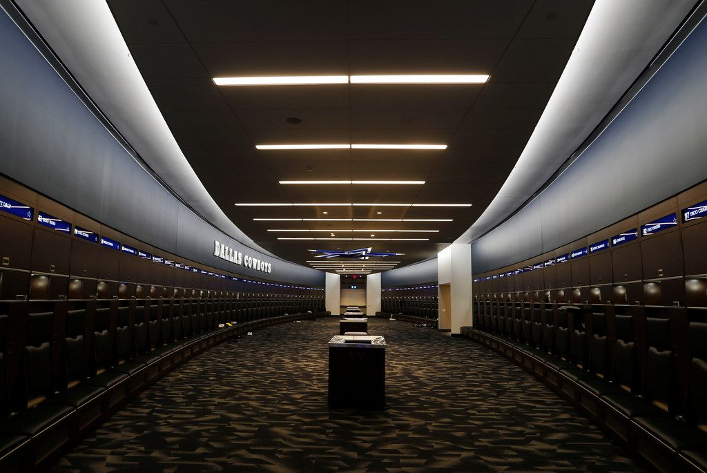 The Dallas Cowboys locker room inside the Dallas Cowboys headquarters at The Star in Frisco