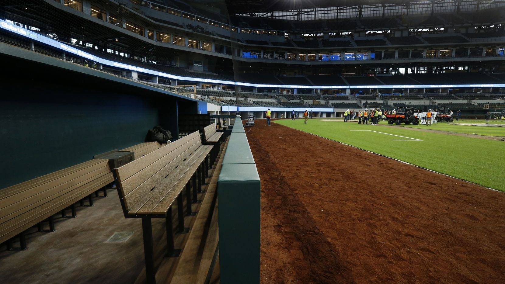 The Texas Rangers dugout is nearing completion inside the new Globe Life Field under construction in Arlington, Texas, Wednesday, March 4, 2020.