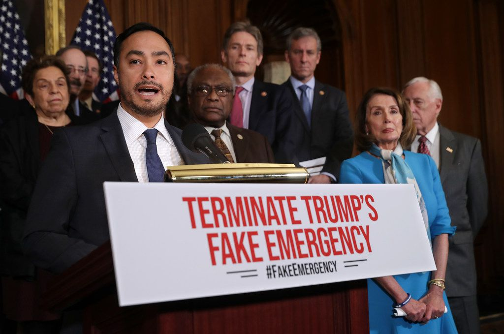The House on Tuesday passed a resolution by Rep. Joaquin Castro, D-San Antonio, that would block President Donald Trump's national emergency over border security. (Photo by Chip Somodevilla/Getty Images)