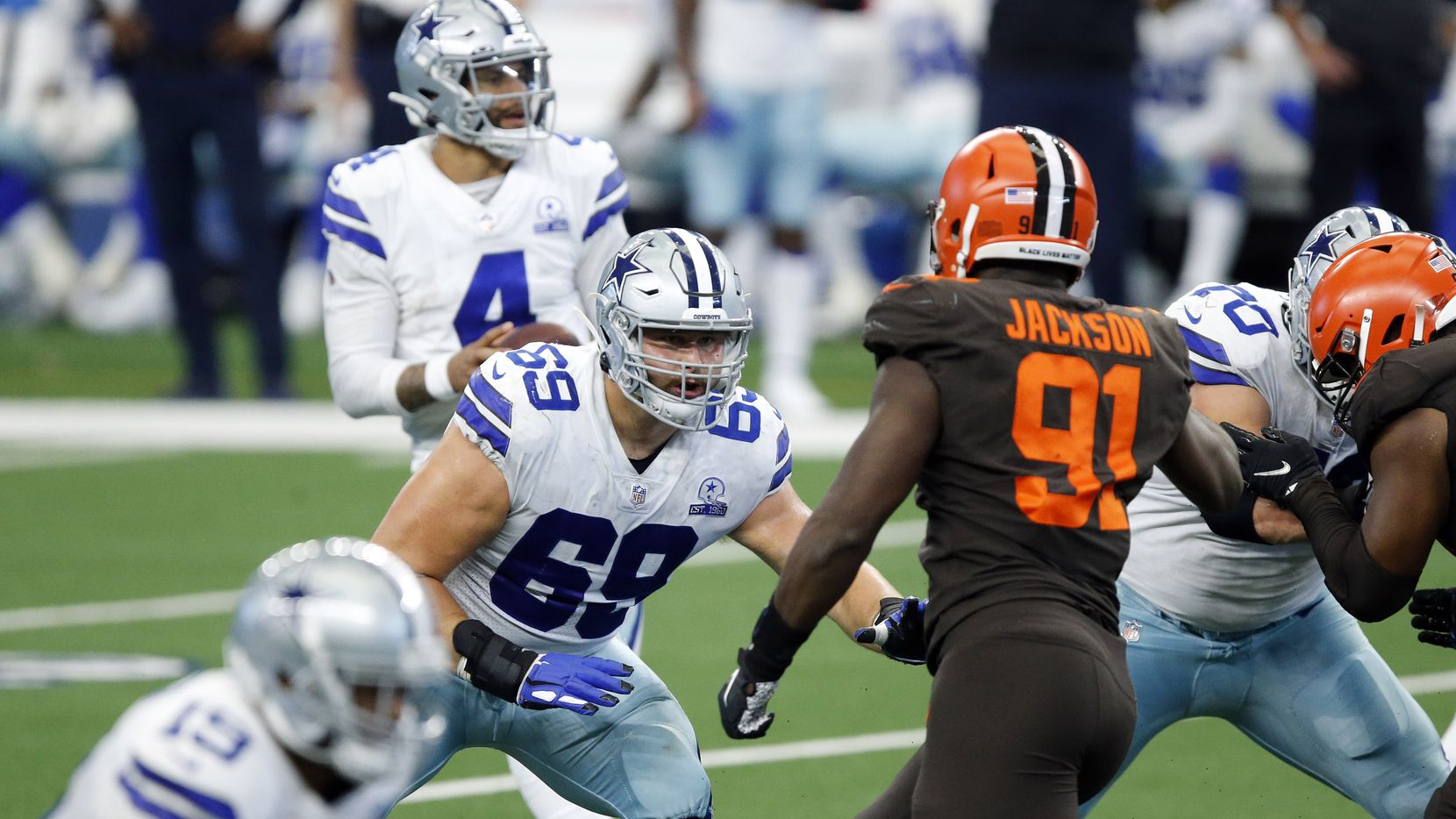 Dallas Cowboys offensive tackle Brandon Knight (69) blocks Cleveland Browns defensive end Joe Jackson (91) during the fourth quarter at AT&T Stadium in Arlington, Texas, Sunday, October 4, 2020.