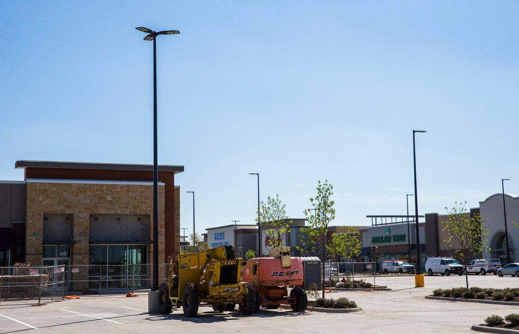 Retail stores are under construction near a new IKEA on Monday, March 25, 2019 at the intersection of State Highway 161 and Mayfield Road in Grand Prairie. (Ashley Landis/The Dallas Morning News)