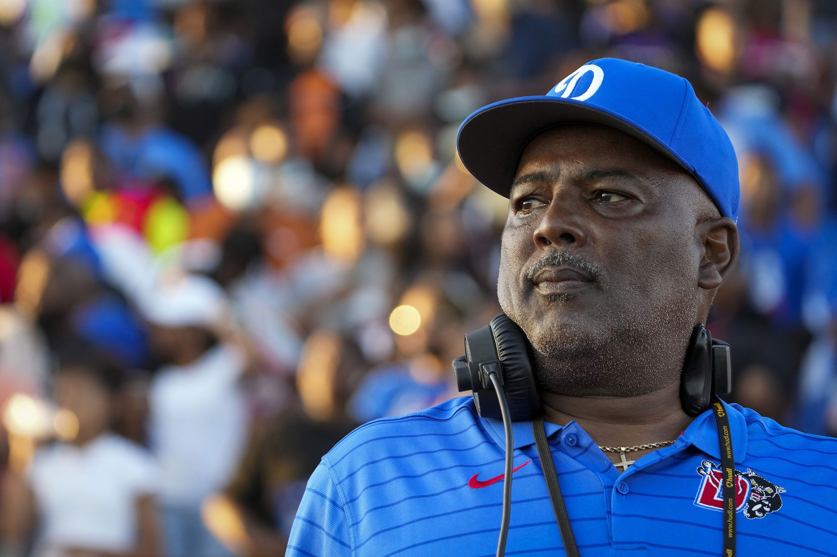 Duncanville head coach Reginald Samples watches his team take the field to face Mater Dei in a high school football game on Friday, Aug. 27, 2021, in Duncanville.