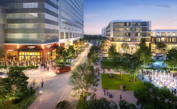 A rendering looking east shows retail space at the State Farm development near the Bush Turnpike in Richardson.