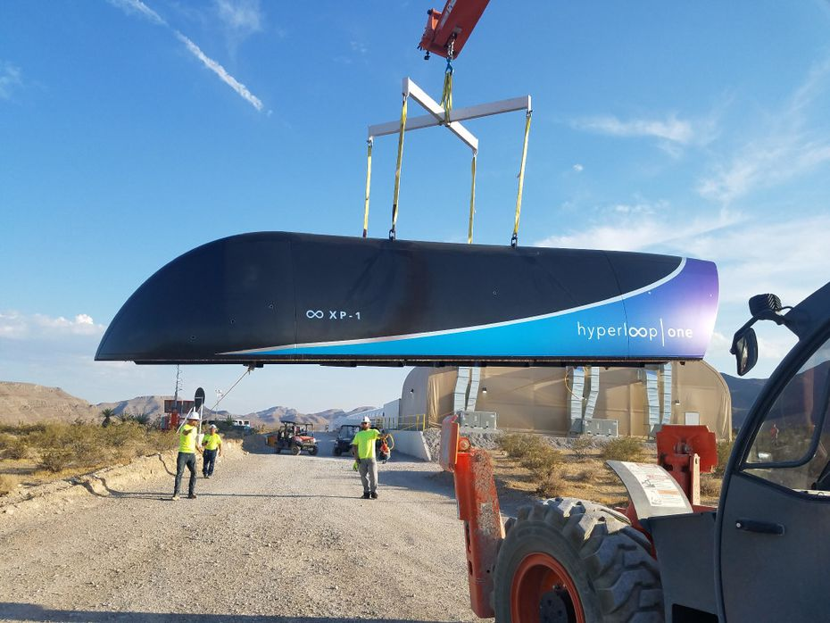 This file photo taken on July 12, 2017 and released by Hyperloop One shows the first Prototype of Hyperloop One Pod on July 12, 2017. .  / AFP PHOTO