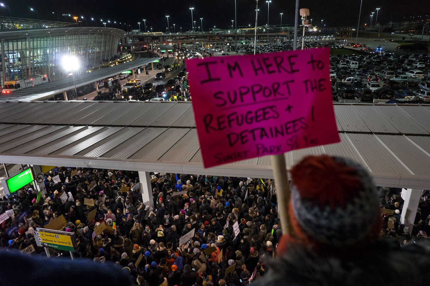 Protesters assemble at John F. Kennedy International Airport in New York, Saturday, Jan. 28, 2017 after earlier in the day two Iraqi refugees were detained while trying to enter the country. On Friday, Jan. 27, President Donald Trump signed an executive order suspending all immigration from countries with terrorism concerns for 90 days. Countries included in the ban are Iraq, Syria, Iran, Sudan, Libya, Somalia and Yemen, which are all Muslim-majority nations.