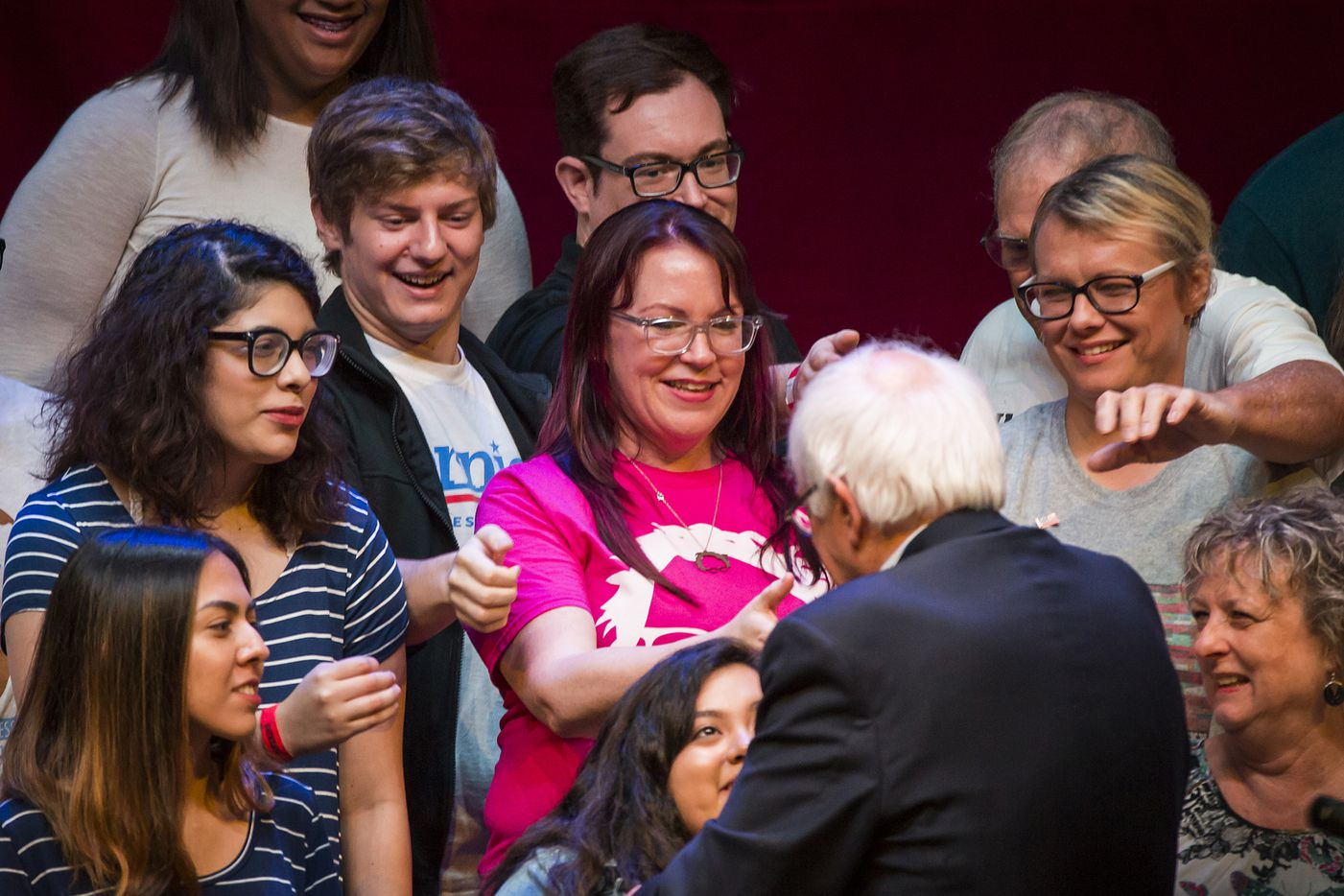 "Vermont senator Bernie Sanders shakes hands with supporters after speaking during a rally at the Verizon Theater on Thursday, April 20, 2017, in Grand Prairie, Texas. Sanders, the runner-up in the 2016 Democratic contest for president, appeared in North Texas as part of a national tour urging Democrats to ""Come Together and Fight Back"" against the agenda of President Trump."