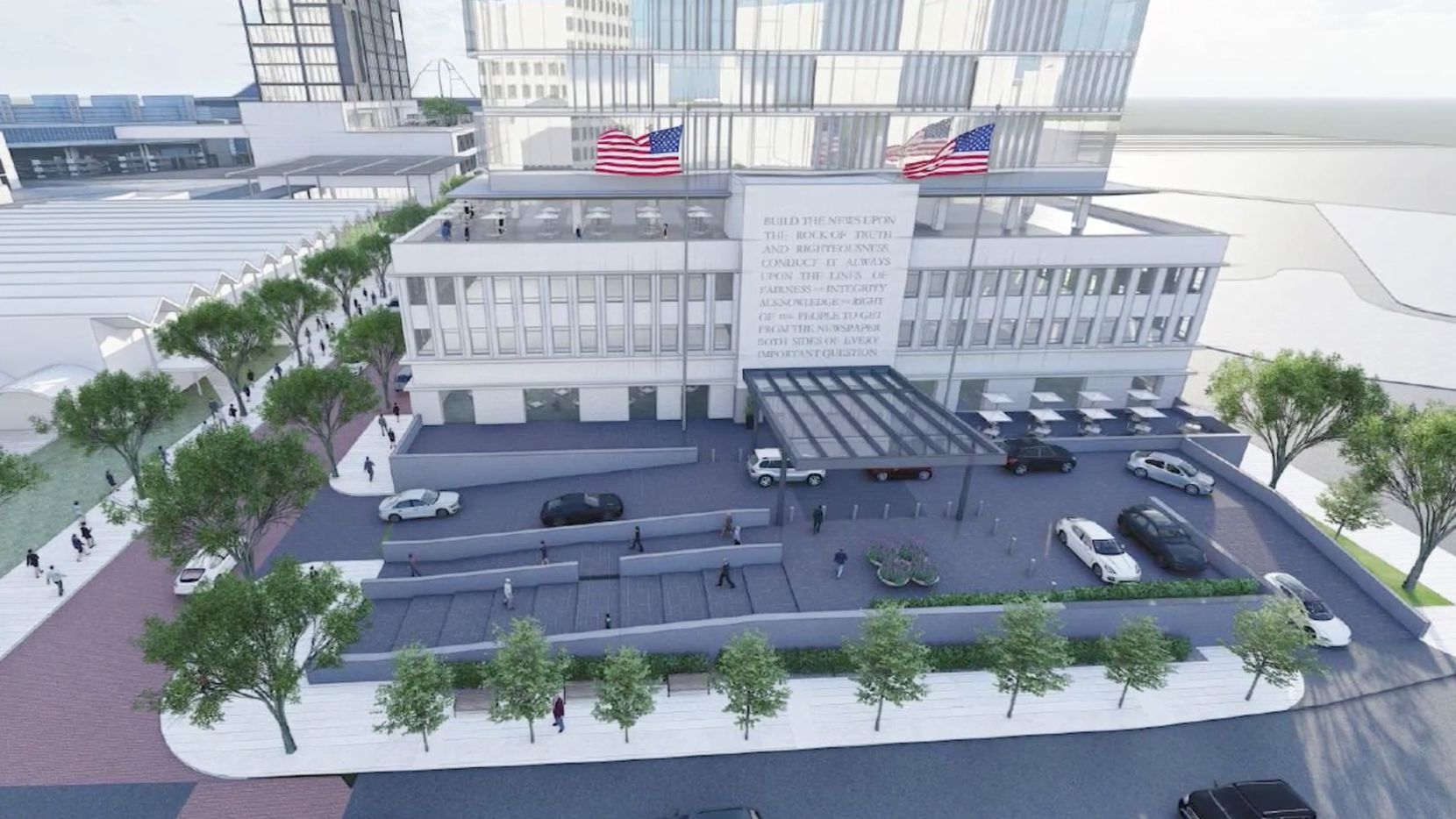 A rendering of how the former headquarters of The Dallas Morning News may be redeveloped.