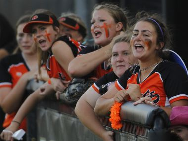 Rockwall players vocalize their support from the team dugout during the top of the second inning of play against Mansfield on May 7, 2021.