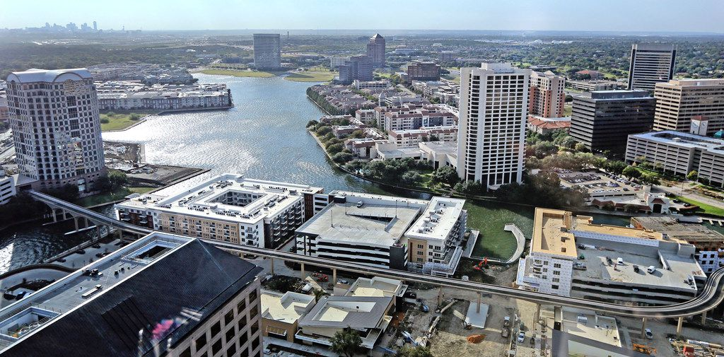 A look from Williams Square at the Water Street development in Las Colinas. (Louis DeLuca/Staff Photographer)