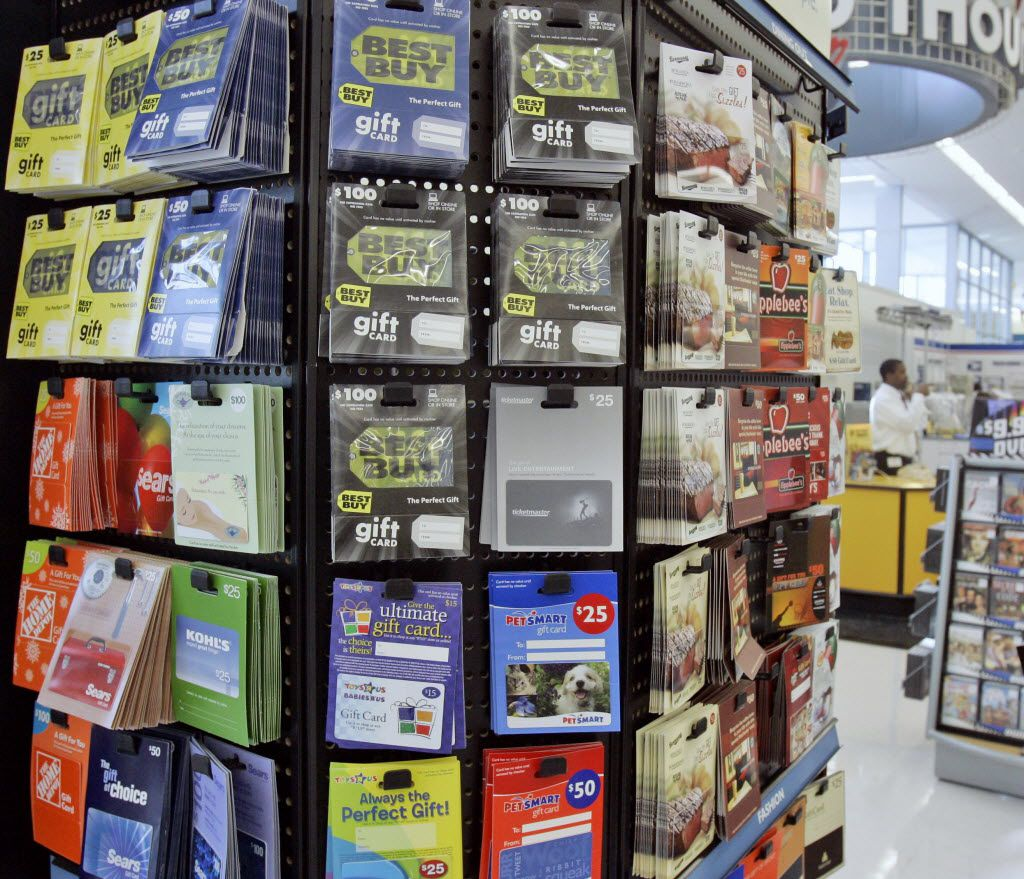 You can pick up gift cards at any local grocery or drug store.