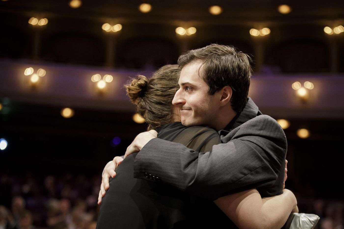 Sliver medalist Kenneth Broberg of the USA celebrates after his award was announced during the Van Cliburn International Piano Competition awards ceremony at the Bass Performance Hall in Fort Worth on Saturday, June 10, 2017. (Smiley N. Pool/The Dallas Morning News)