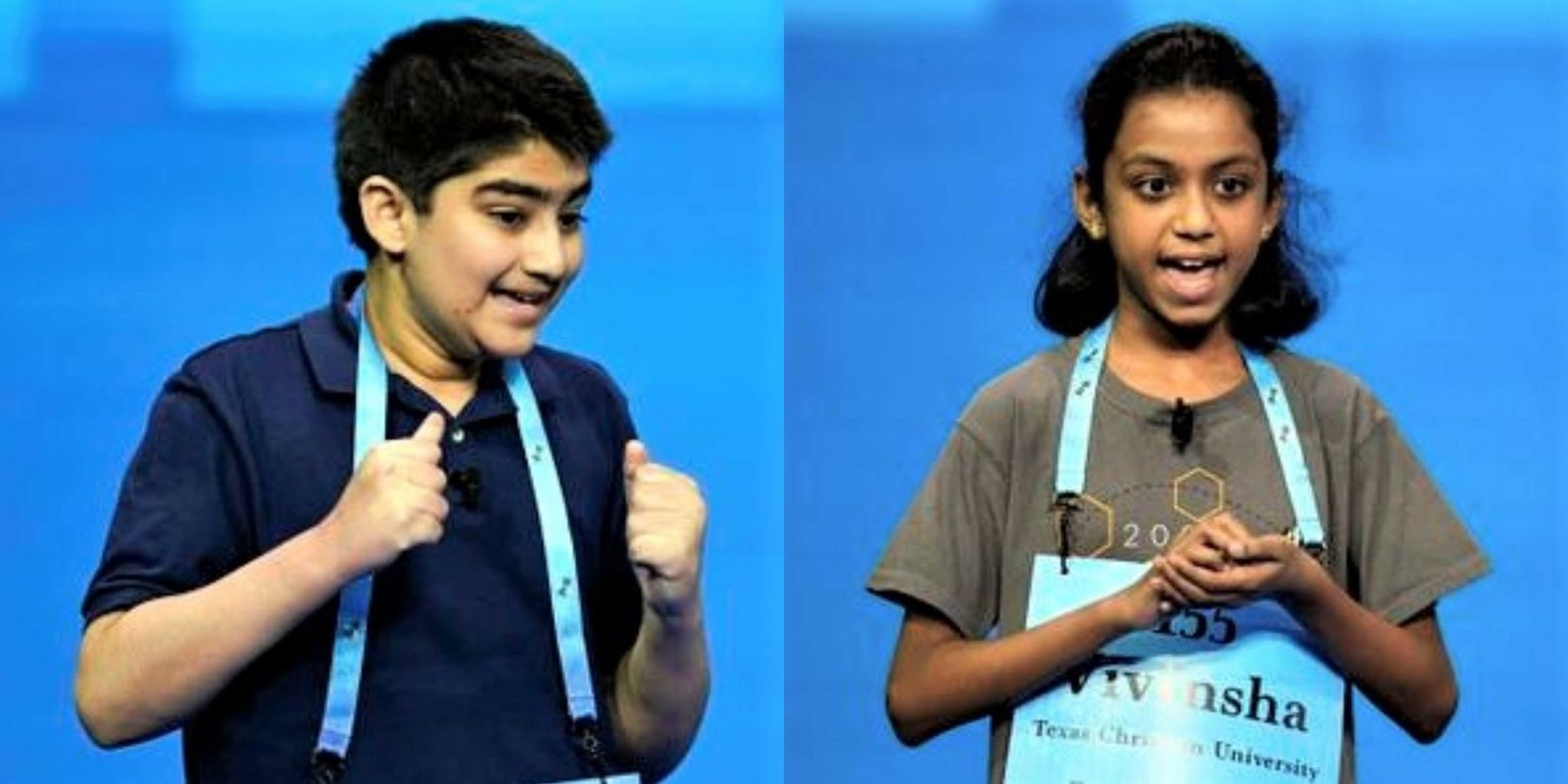 Plano ISD's Dhroov Bharatia (right), 12, and Keller ISD's Vivinsha Veduru, 10, were among the finalists at the bee.