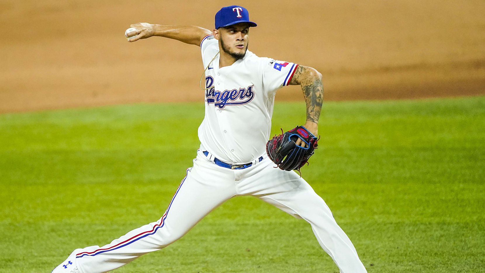 Texas Rangers pitcher Jonathan Hernandez pitches during the eighth inning against the Colorado Rockies on opening day at Globe Life Field on Friday, July 24, 2020.