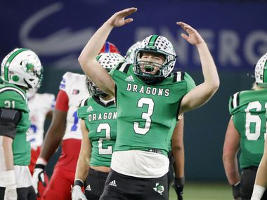 Southlake Carroll quarterback Quinn Ewers (3) reacts as Southlake Carroll defeated Duncanville 34-27 in a Class 6A Div. I state semifinal in Arlington on Jan. 9, 2020.