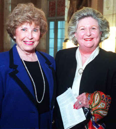 Nancy Cheney (left) and Lindalyn Adams at An Evening  With Nellie Connally in The Hall of State at Fair Park in 1997.