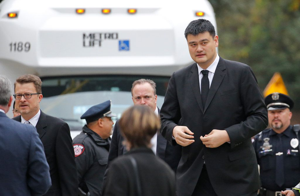 Former NBA basketball star Yao Ming arrives at the funeral service for George H.W. Bush, the 41st President of the United States, at St. Martin's Episcopal Church in Houston on Thursday, December 6, 2018. (Louis DeLuca/The Dallas Morning News)