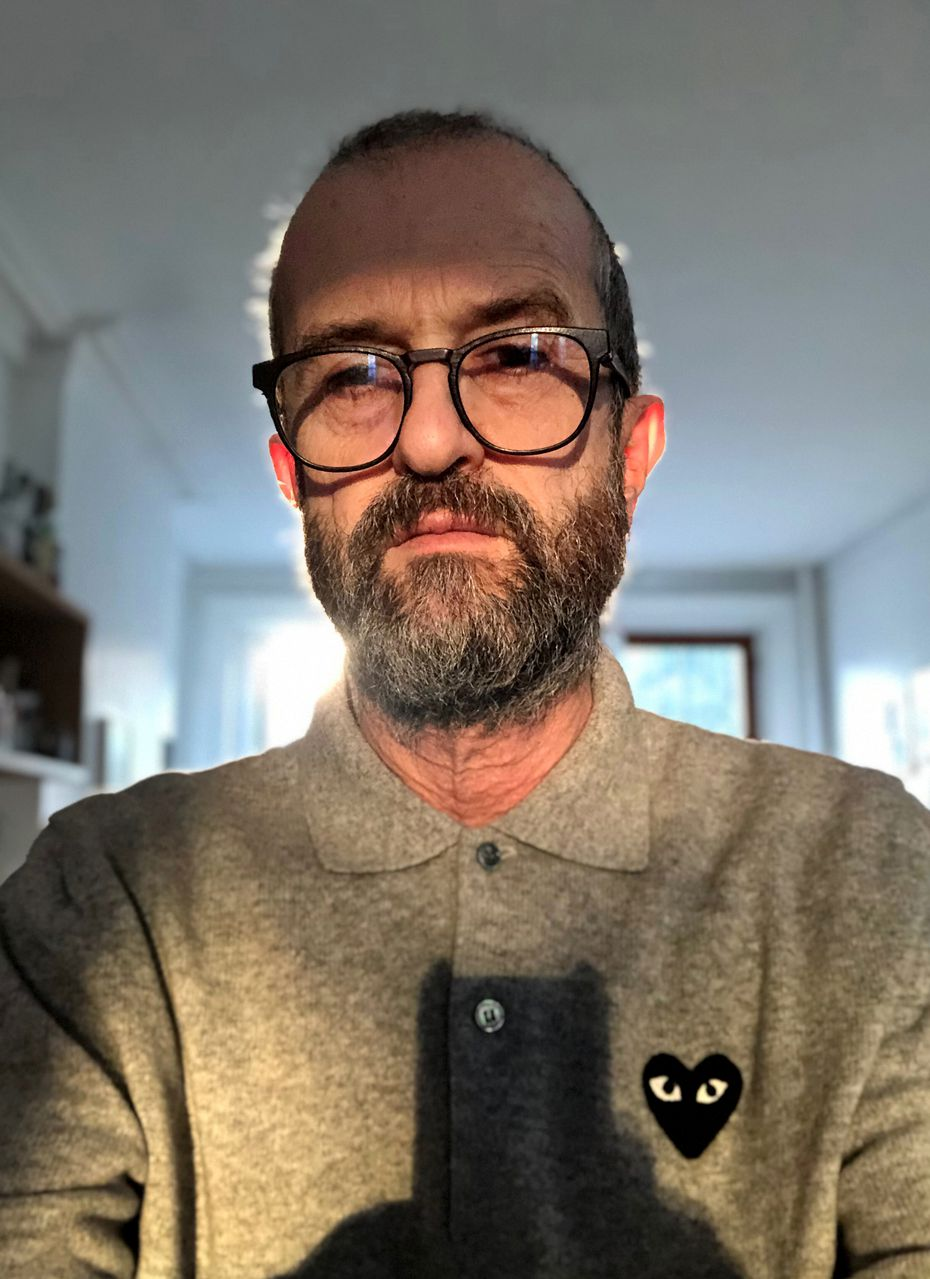 Ari Marcopoulos took this self-portrait for his exhibition at Galerie Frank Elbaz. Marcopoulos has made a career of documenting everyday life and the creativity of people on the margins of society.