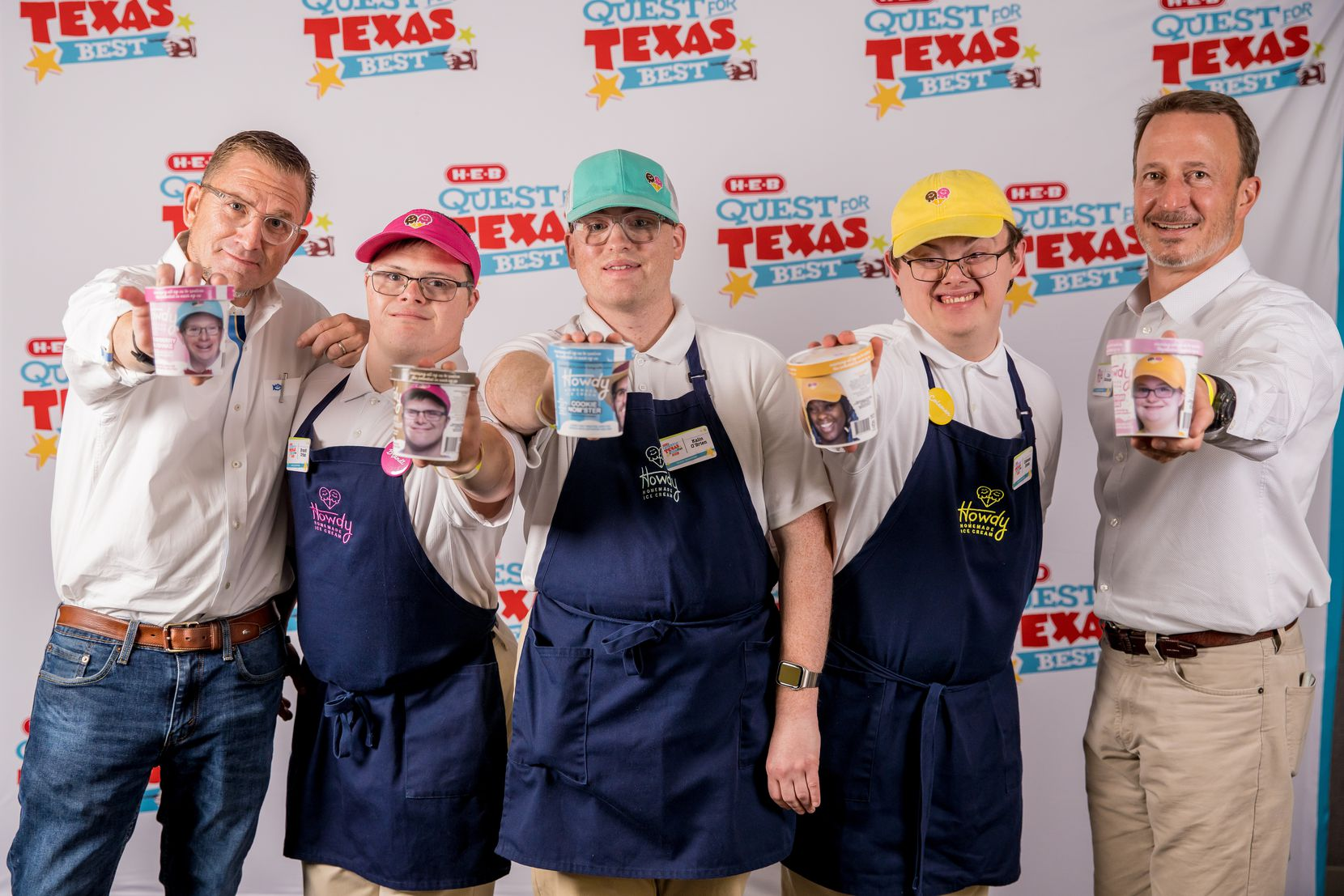Dallas-based Howdy Homemade executives, left to right, Tom Landis, founder; Brandt Urban, vice president; Kalin O Brien, senior vice president; Coleman Jones, vice president; and Chris Dahlander, president and chief operating officer. The ice cream brand won third place in the 2021 H-E-B Quest for Texas Best competition.