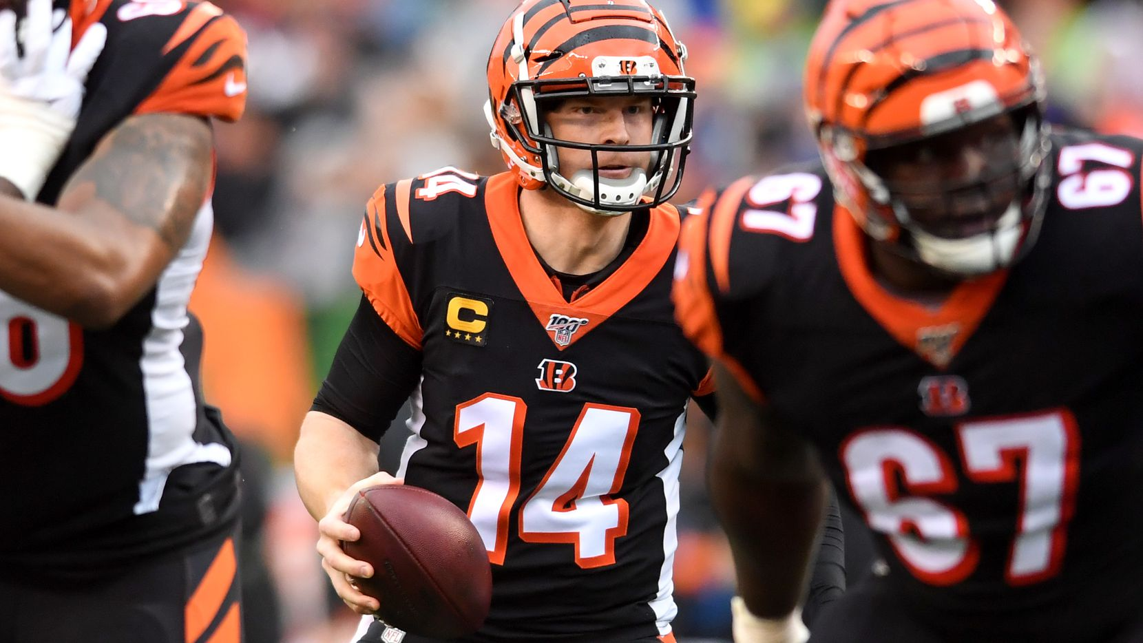Bengals quarterback Andy Dalton (14) drops back to pass during the first quarter of a game against the Cleveland Browns on Dec. 29, 2019, at Paul Brown Stadium in Cincinnati. (Photo by Nick Cammett)
