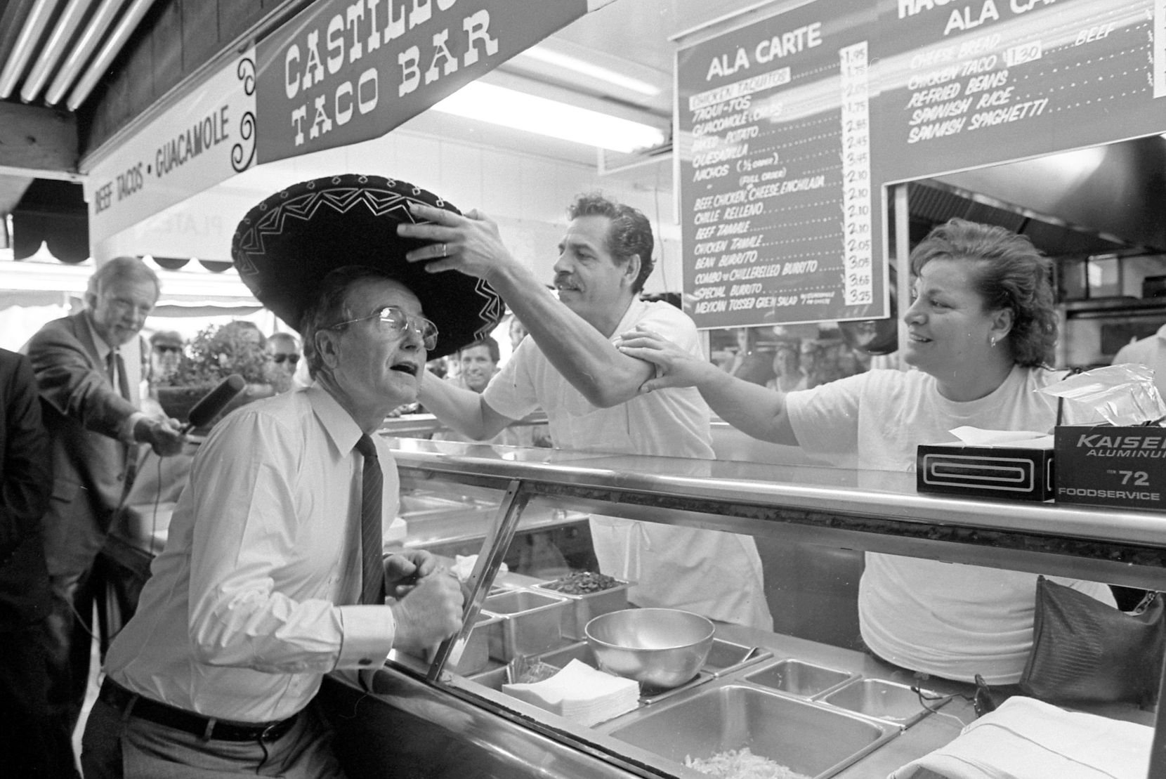 Vice President George H.W. Bush checked out a sombrero while campaigning at Farmers Market in Los Angeles in March 1988.