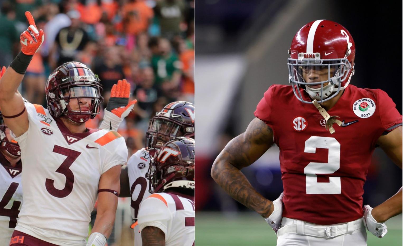 Virginia Tech CB Caleb Farley (left) and Alabama CB Patrick Surtain (right).
