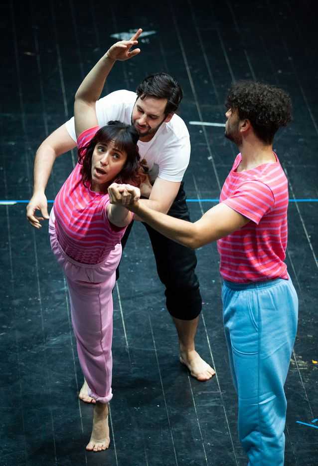 Danielle Georgiou rehearses Just Girly Things with William Acker (top) and Colby Calhoun. The musical sitcom is a layered dance-theater work in the typical style of the Danielle Georgiou Dance Group.