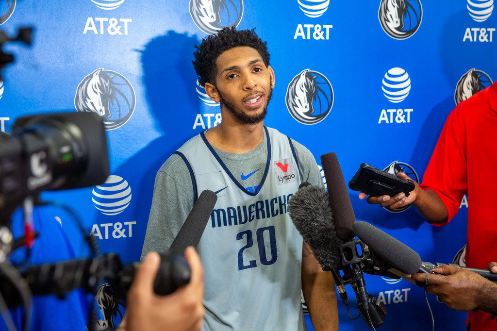Cameron Payne, guard for the Mavericks summer league team, speaks to reporters after basketball practice at the Mavericks Training Center in Dallas on Tuesday, July 2, 2019. (Lynda M. Gonzalez/The Dallas Morning News)