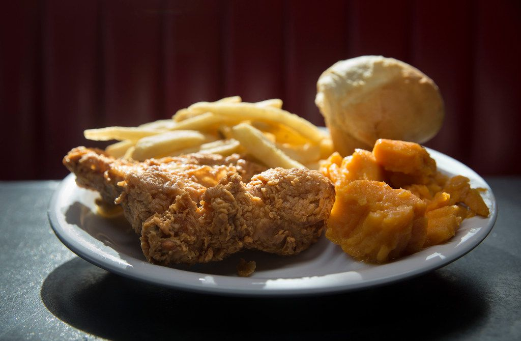 The No. 2 at Bubba's is a winner, winner, chicken dinner:  two pieces of fried chicken, two veggies and a roll.