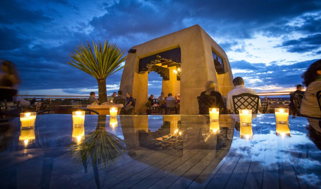 Cocktails on the rooftop's renovated Bell Tower at La Fonda on the Plaza is a Santa Fe ritual