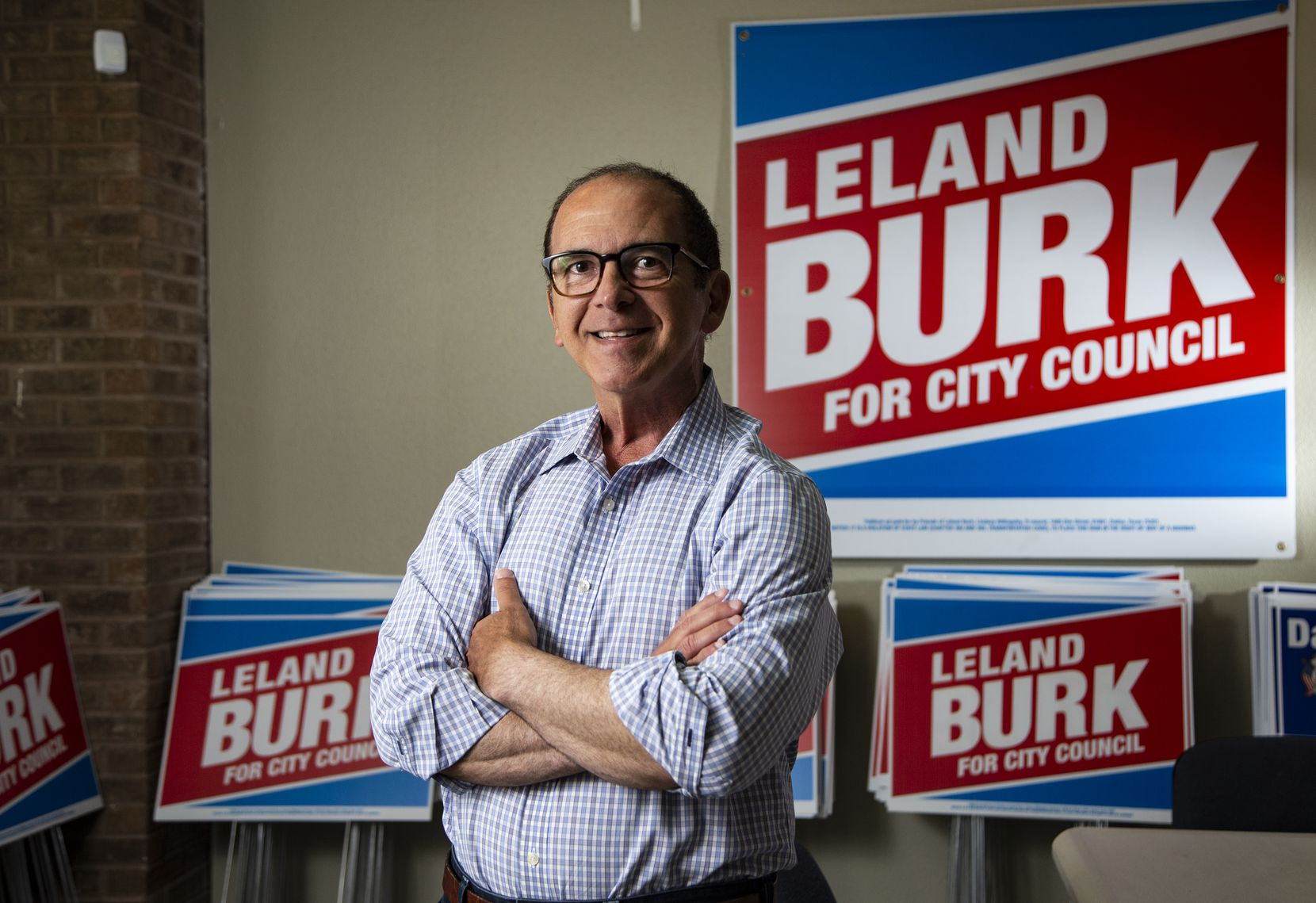 Leland Burk, a Dallas City Council candidate running to represent District 13, poses for a photo at his campaign office in North Dallas, Friday, May 21, 2021. He is one of two candidates competing in the June 5th runoff for the open council seat. (Brandon Wade/Special Contributor)