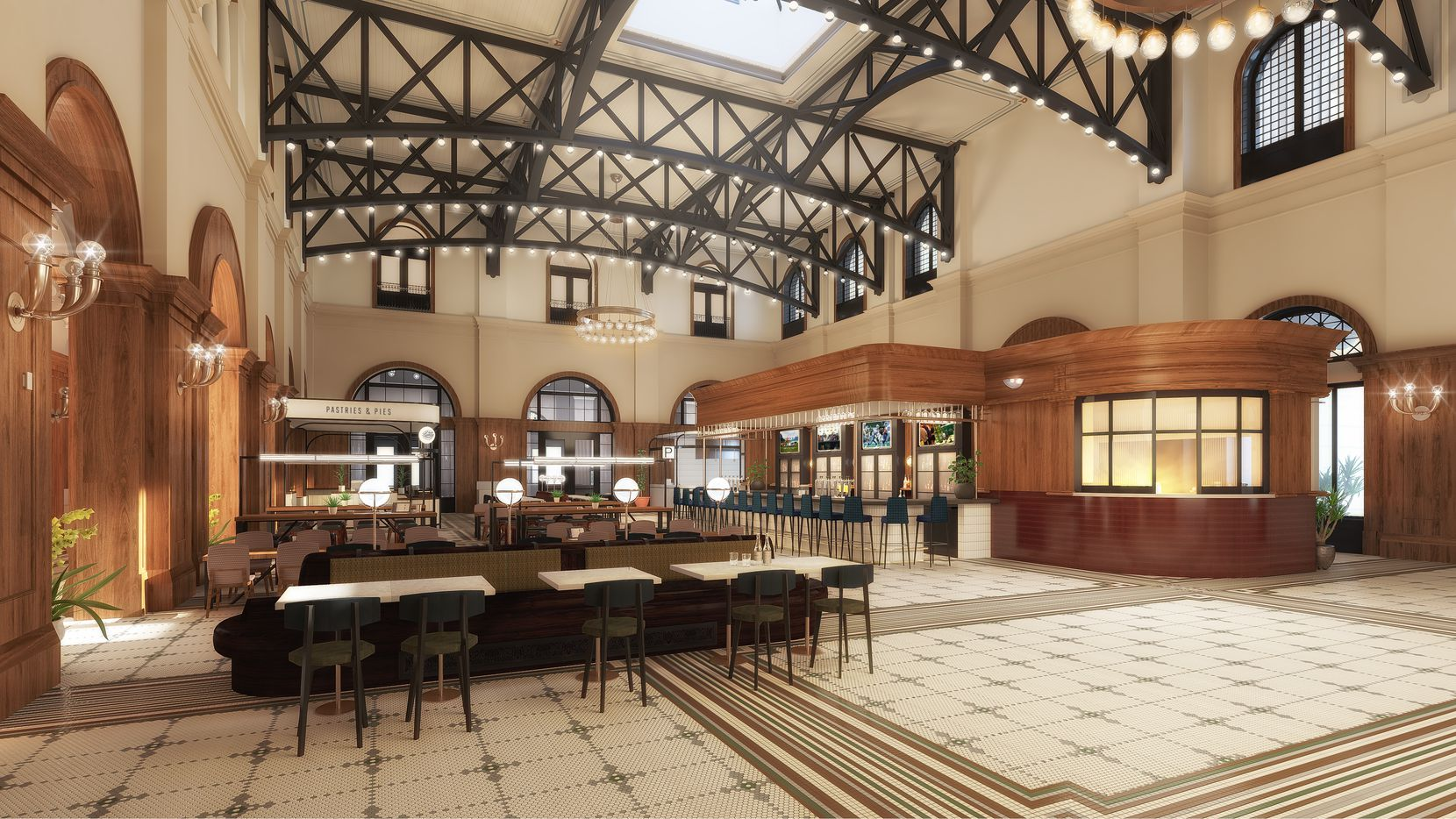 This rendering shows the Hotel Vin's upcoming food hall in Grapevine. Harvest Hall's two larger rooms will have three or four kitchens, where customers will order at the counter and sit at communal seating.