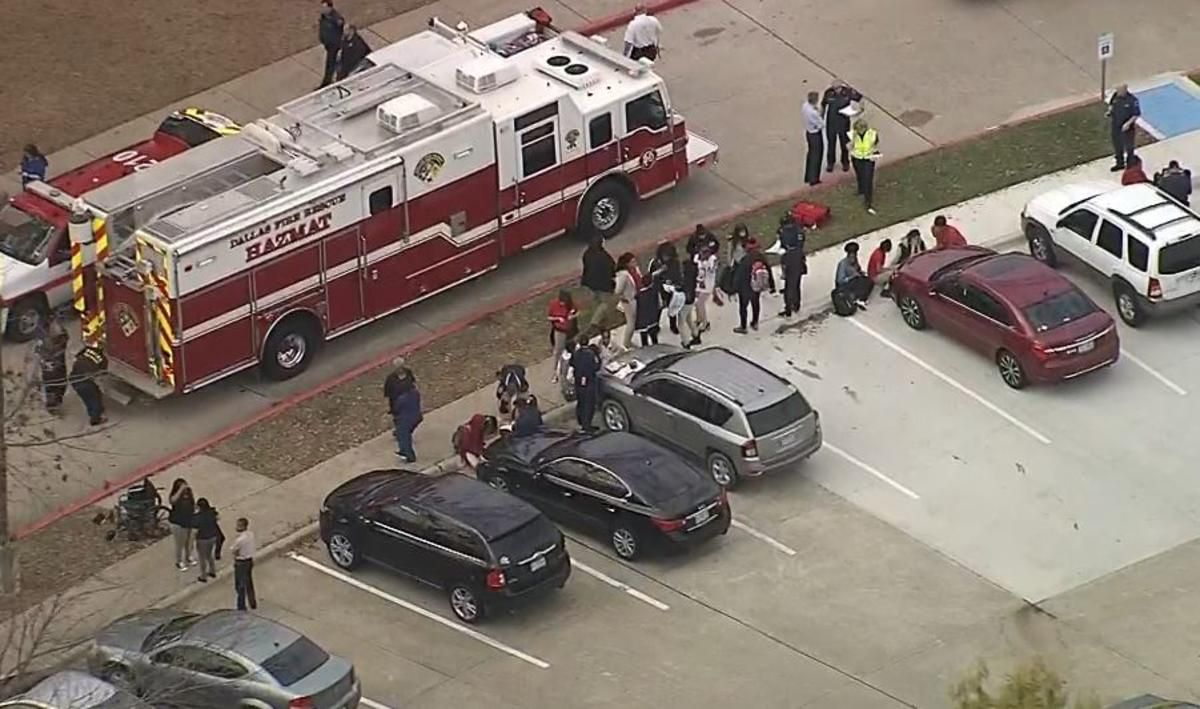 The odor was reported about 1 p.m. at Cedar Hill Collegiate High School in the 1500 block of High Pointe Lane, and the school of about 500 students was evacuated. (KXAS-TV NBC5)